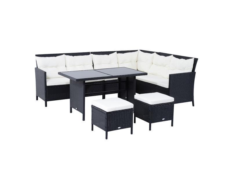 Salon de jardin 8 pers. Grand confort canapé d\'angle + 2 poufs + ...