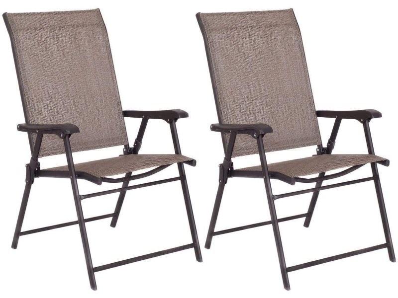 Costway lot de 2 chaises de jardin pliantes avec accoudoirs, fauteuil de camping avec siège en textilène respirant et confortable, chaise avec cadre en métal pour jardin, terrasse ou balcon, brun