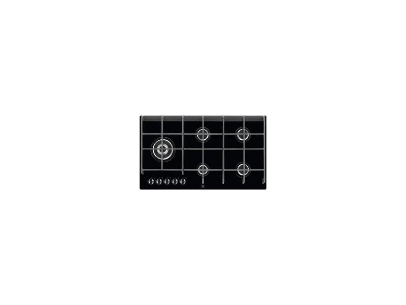 Table gaz electrolux egvp9353ik noir/verre, 5 feux, 10500w, 88cm EGVP9353ik
