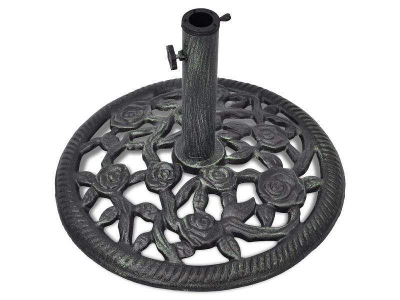 Pied socle base de parasol en fonte 35/38/48 mm 12 kg 48 cm noir helloshop26 2202094