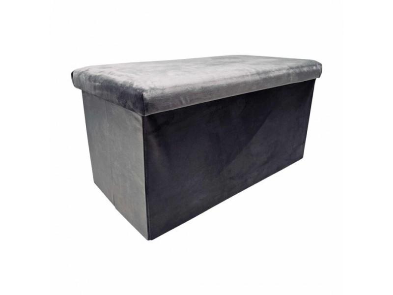 Dita tabouret coffret velours gris anthracite 441995