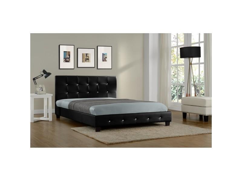 Lit notting hill - cadre de lit en pu capitonné noir - 160x200cm