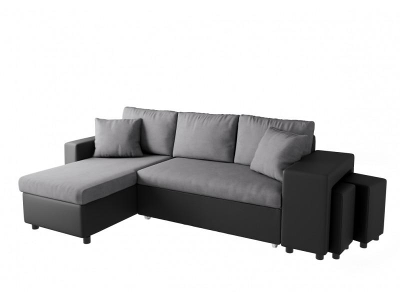 Canapé d'angle oslo convertible avec coffre et poufs en microfibre et simili - gris / noir, position du rangement poufs - droit L200PLUSNRGRD