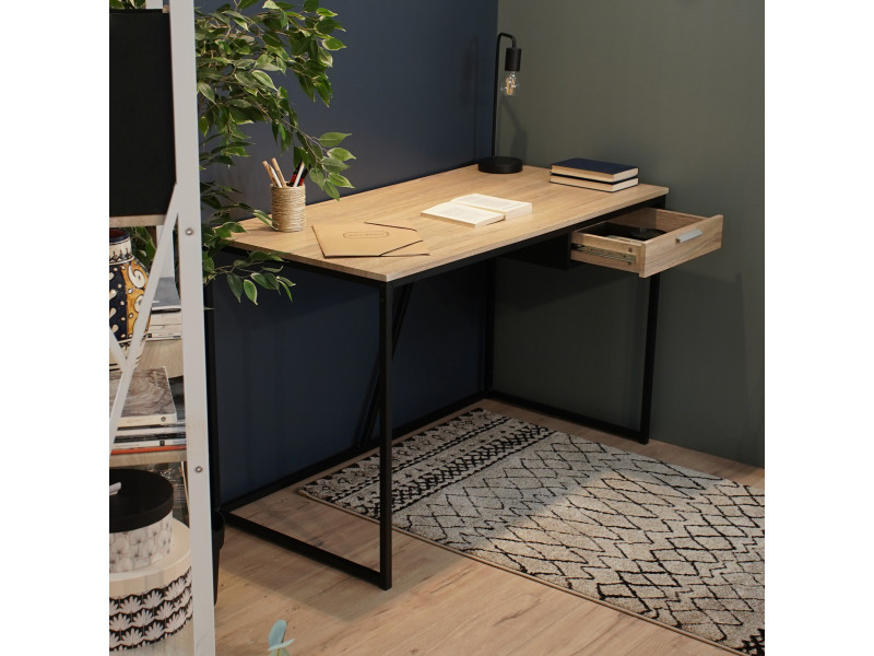 Bureau beige bois métal noir avec un tiroir