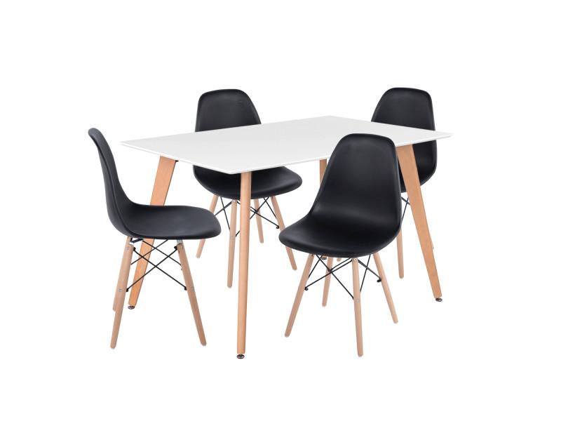 Ensemble table à manger rectangulaire 110*70 et 4 chaises scandinave blanc bois