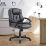 Fauteuil chaise de bureau grand confort pivotant ergonomique hauteur réglable simili cuir noir neuf 49bk