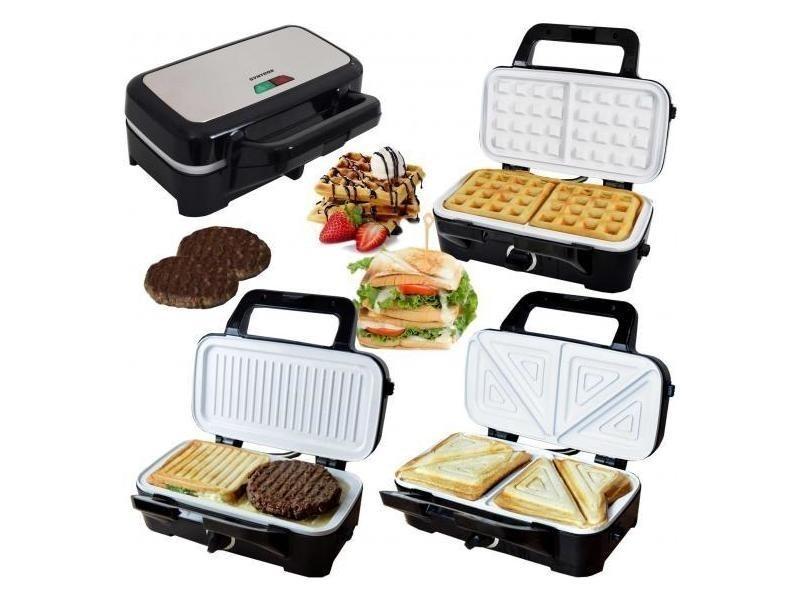 Gaufrier sandwich chef maker 3 en 1 grill avec revêtement en céramique 2200w