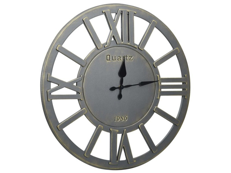 Vidaxl horloge murale gris 60 cm mdf 321469
