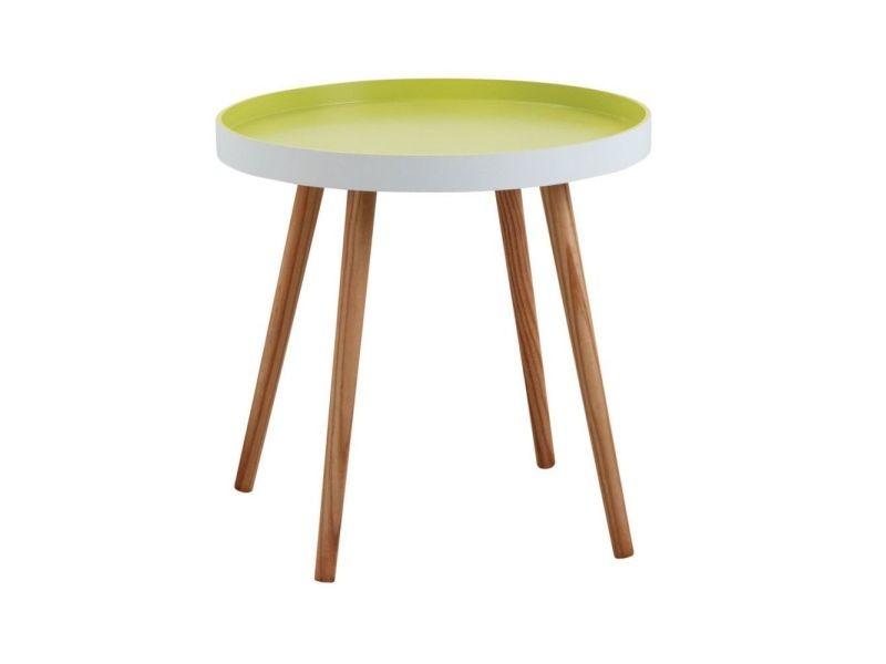 Table d'appoint ronde en bois et mdf laqué vert anis