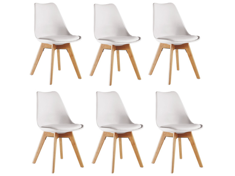 Lot De 6 Chaises Scandinaves Blanches Lorenzo Assise Rembourree