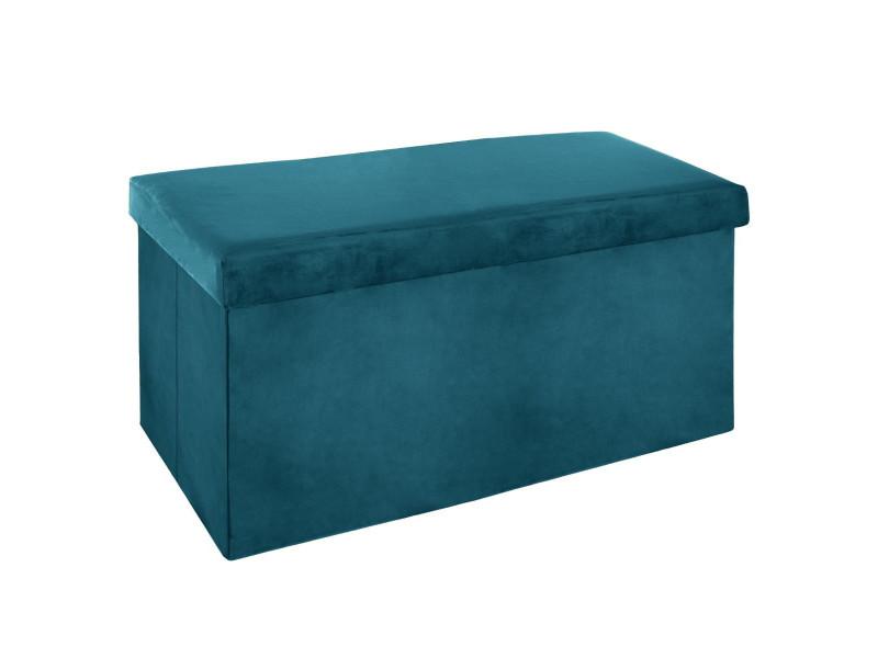 Pouf pliant double bleu canard en velours - l. 76,6 x l. 38 x h. 37,5 cm -pegane-