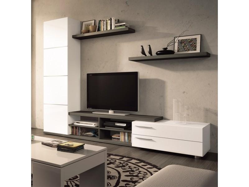 Meuble tv bicolore avec rangements et étagères 240 x 180 cm suzane zendart sélection
