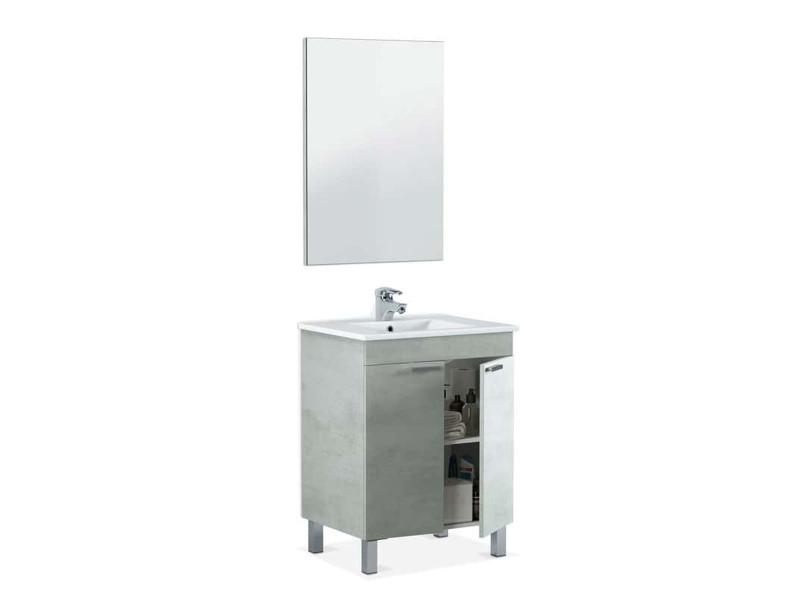 Meuble salle de bain sous-vasque 60 cm,2 portes + miroir coloris béton - hauteur 80 x longueur 60 x profondeur 45 cm PEGANE