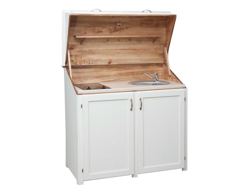 Placard cuisine en bois massif de tilleul finition blanche patinée l130xpr60xh115 cm