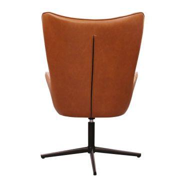 Henya fauteuil simili marron et piétement métal noir
