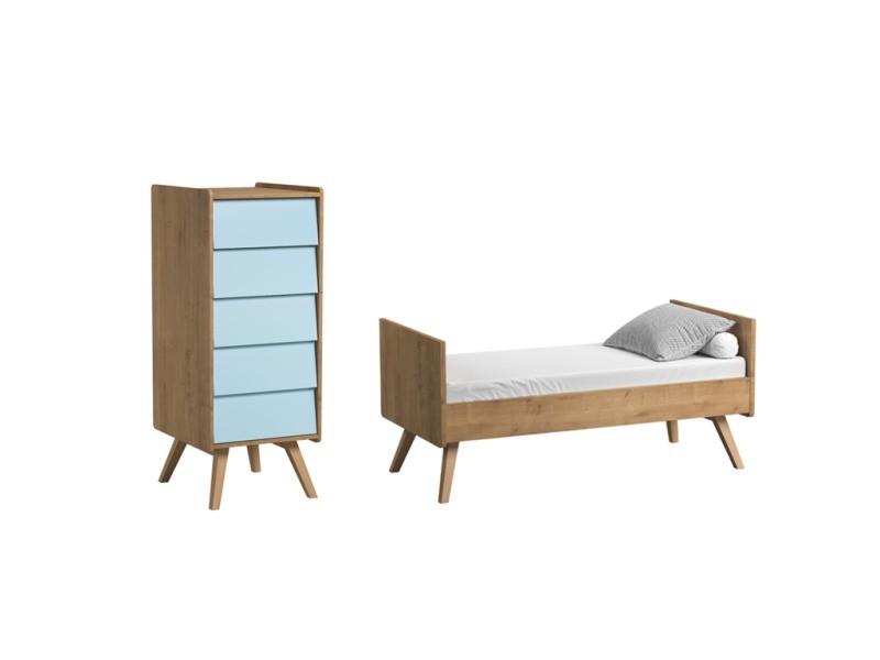 Lit évolutif 70x140 et chiffonnier vintage - bois bleu