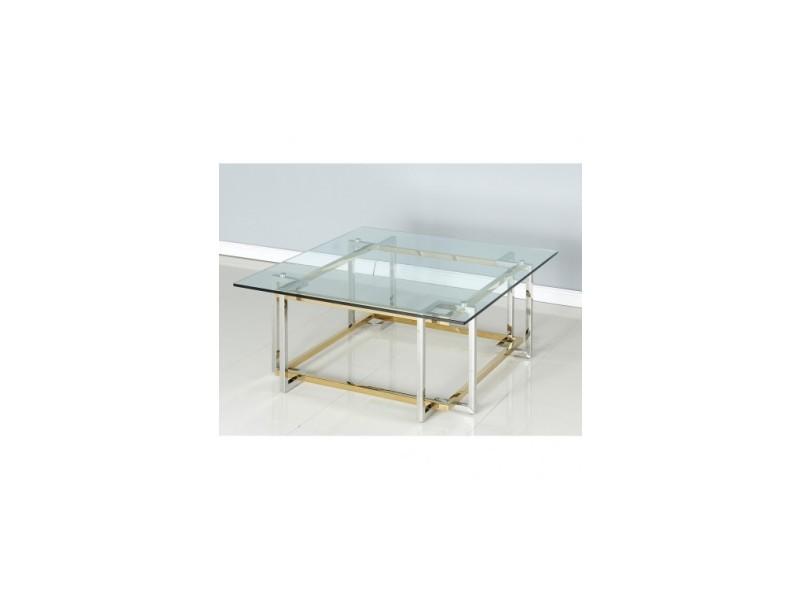 Table basse design verre et acier carré chiara