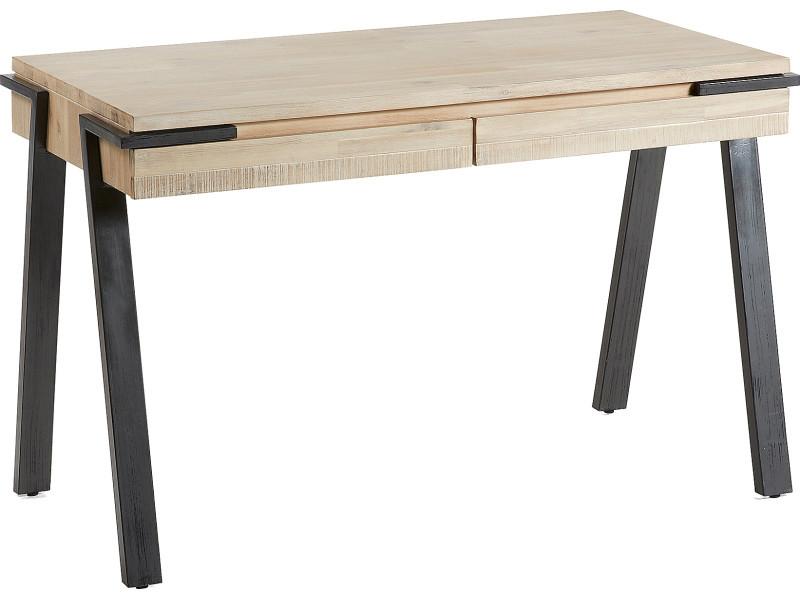 Bureau design avec tiroirs plateau en bois d acacia massif en