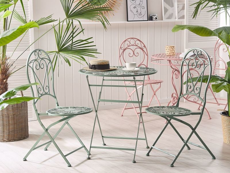 Table ronde de jardin bistrot en métal vert trento 208192