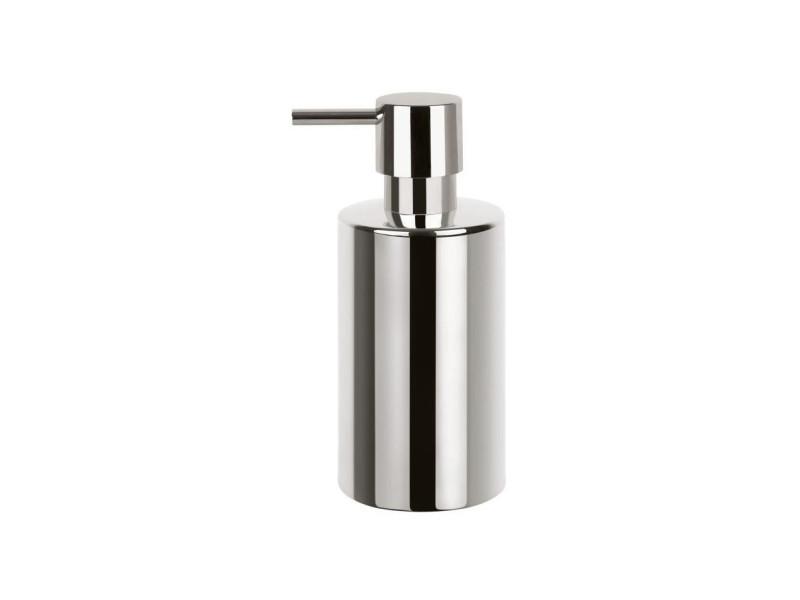 Tube distributeur de savon porcelaine - 16x7x7 cm - chrome