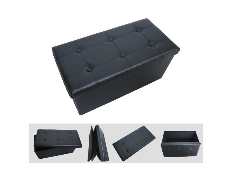 Banc pliant, ottoman avec espace de stockage, 76 x 38 x 38 cm, noir, finition piquée et capitonnée, charge maximale: 150 kg 3700778710251