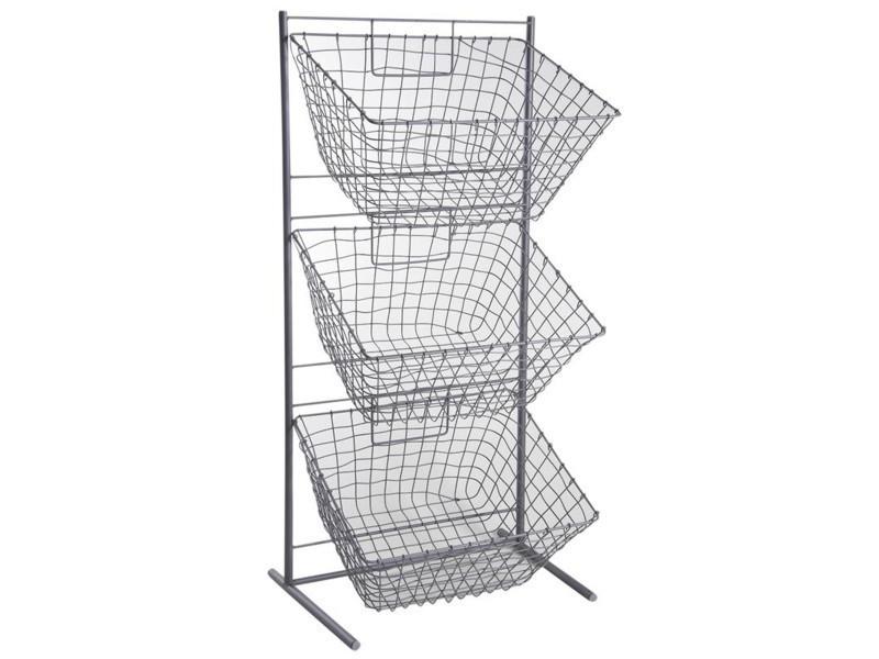 Présentoir en métal gris avec 3 corbeilles rectangulaires, 49 x 35 x 101 cm -pegane-