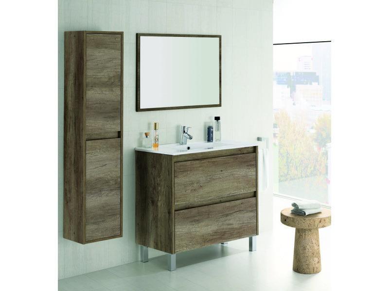 Set de meuble sous lavabo avec 2 tiroirs colonne suspendue 2 portes nordik pegane vente de - Meuble lavabo avec colonne ...