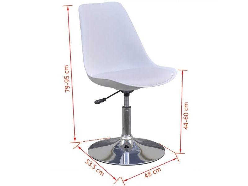 Vidaxl chaises pivotantes de salle à manger 2 pcs blanc