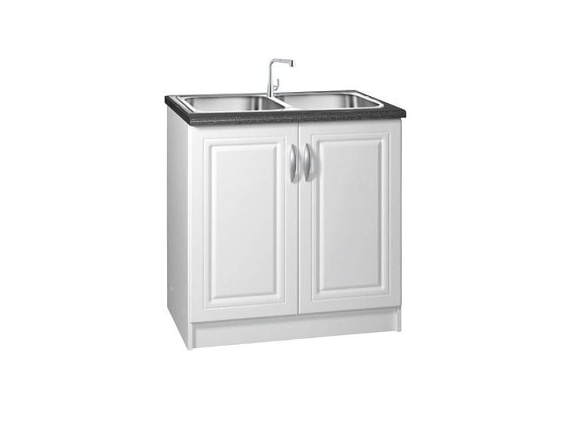 Meuble de cuisine sous-evier 2 portes 80 cm dina mélaminé avec 1 étagère blanc