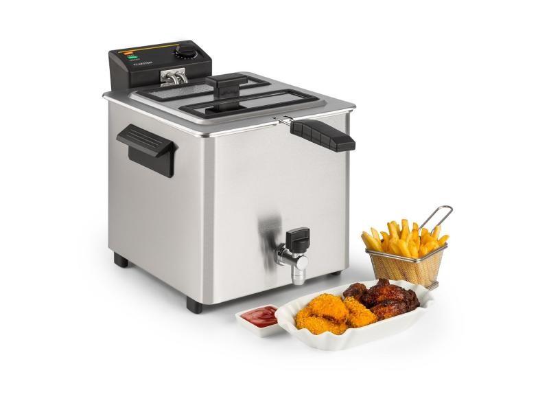 Klarstein family fry friteuse électrique 8 litres - poignées froides - 3000w - inox argent