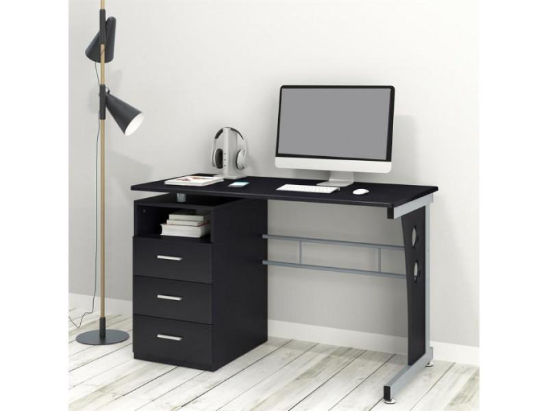 Bureau informatique noir avec tiroirs de rangement et