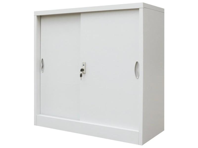 Distingué armoires et meubles de rangement famille maseru armoire de bureau avec porte coulissante métal 90x40x90 cm gris