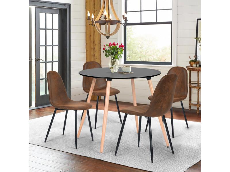 Ensemble table à manger ronde et lot de 4 chaises scandinave marron