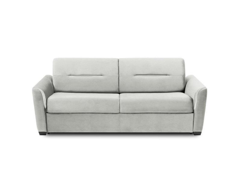 Canapé convertible rapido amazone matelas 160cm comfort bultex® 14cm cuir vachette blanc cassé 20100879682