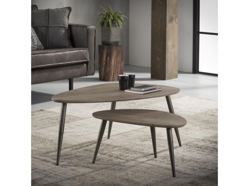 Ensemble de 2 tables basses vintage en bois foncé annabelle