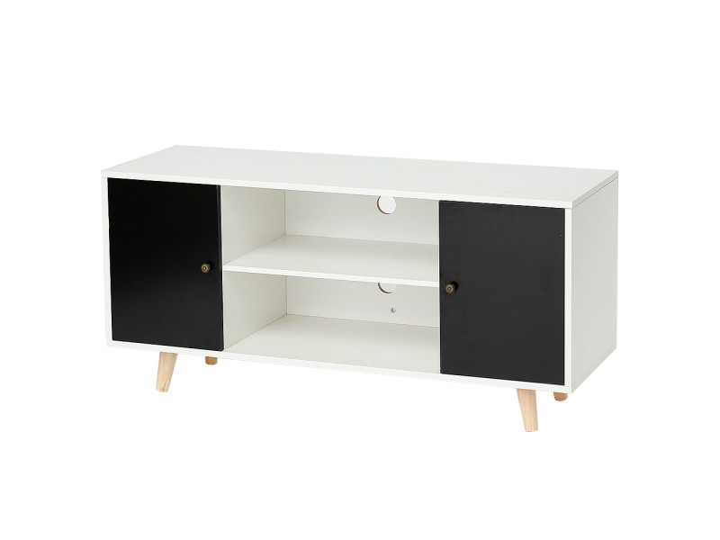 Meuble tv scandinave pieds en bois hombuy gris foncé et blanc