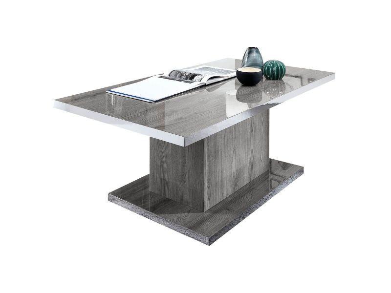 Naktam - table basse rectangulaire aspect chêne gris laqué