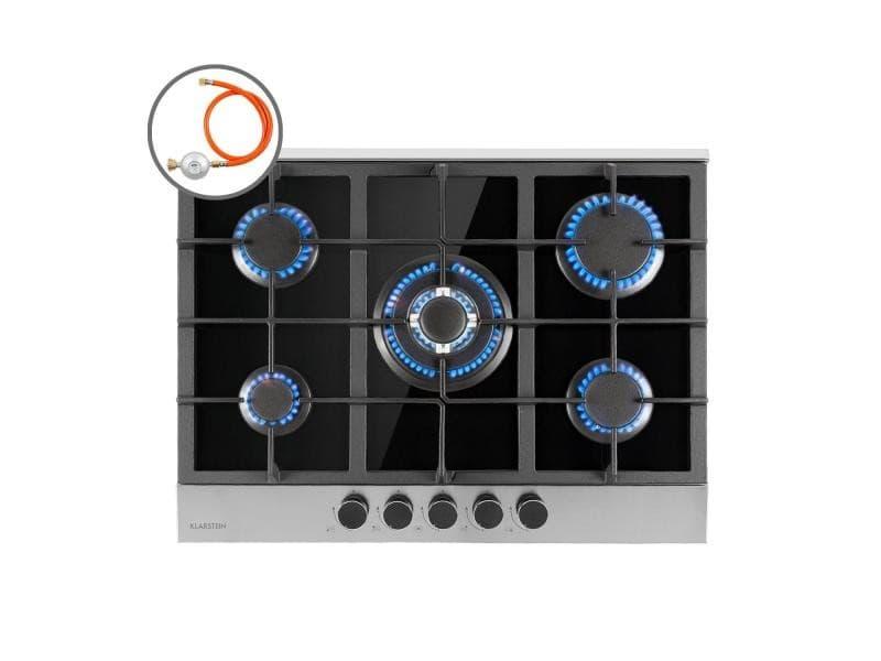 Klarstein alchemist table de cuisson gaz 5 zones , brûleurs en aluminium , allumage électrique , vitrocéramique - noir CP11-Alchemist-5