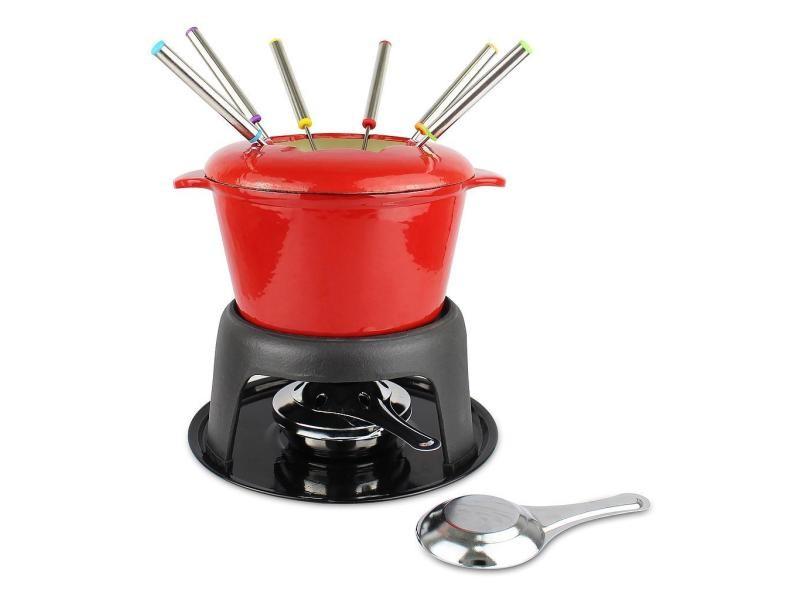 Service à fondue, caquelon, rouge, matériau: émail en porcelaine, fonte 3700778715416