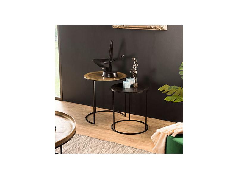 Set de 2 tables d'appoint gigognes rondes aluminium doré et noir - pieds ronds métal