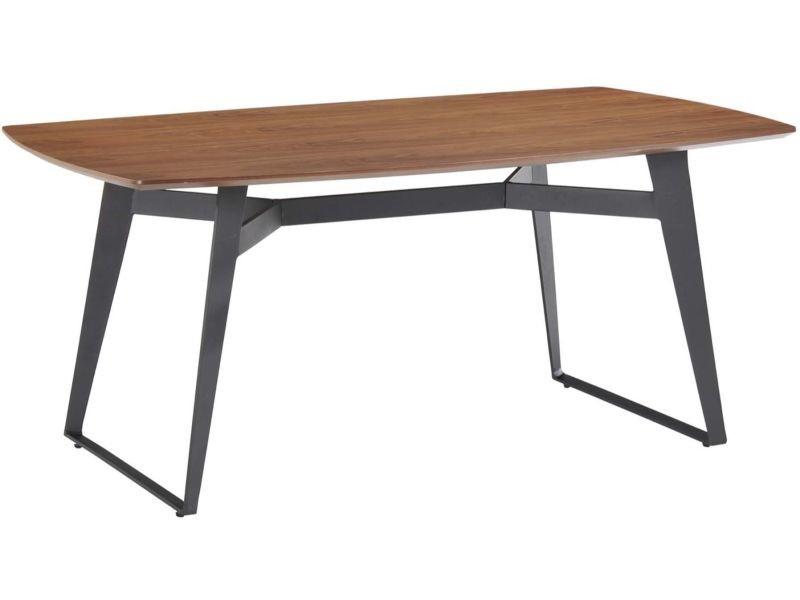 table moderne 180cm plateau noyer pieds noir sven. Black Bedroom Furniture Sets. Home Design Ideas