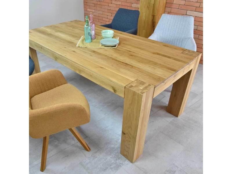 Table à manger en bois massif de chêne livy - couleur marron