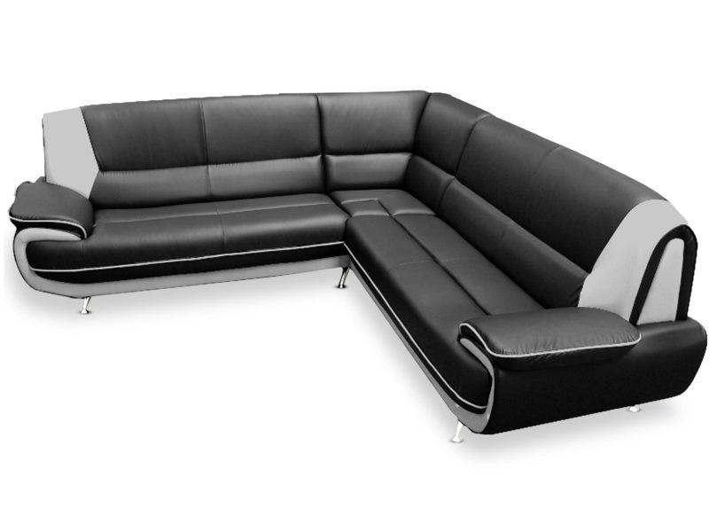 Canapé d'angle palermos simili noir et blanc