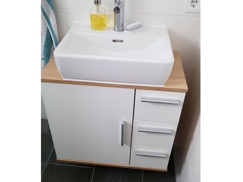 Meuble sous-vasque sonoma blanc 60,8 x 60 x 33 cm (hxlxp)