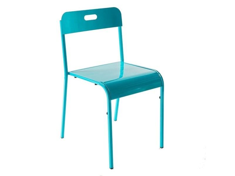 Chaise métal vintage bleu