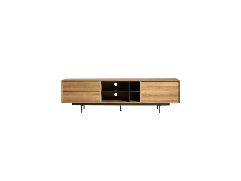 Meuble tv bois 2 tiroirs 1 porte - tribeca - l 180 x l 40 x h 50 - neuf
