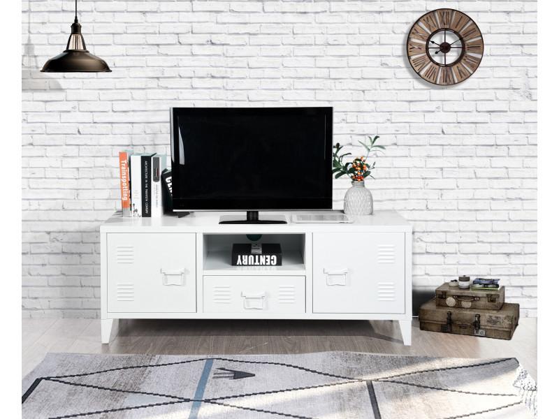 Meuble tv caisson métal casier 2 portes blanc