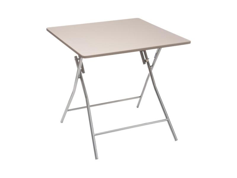 Five - table d'appoint pliante taupe 80 x 80 cm