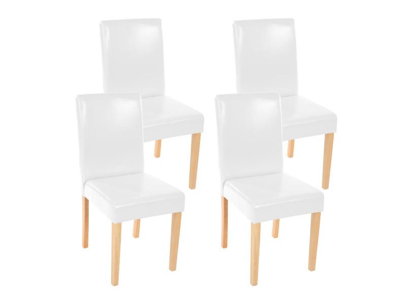 Lot de 4 chaises de séjour littau, simili-cuir, blanc, pieds clairs