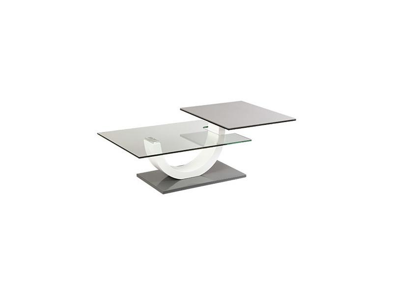 Table basse plateaux verre et céramique - gris